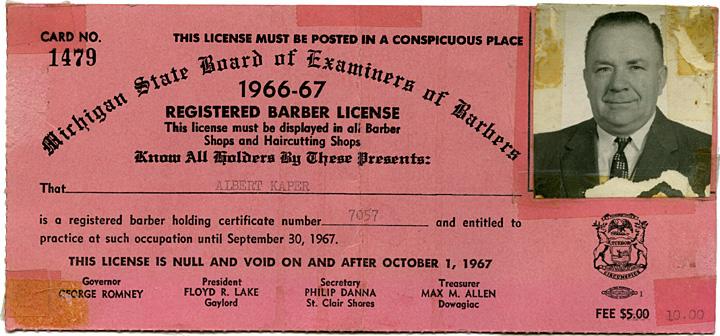 MulderMedia Family Tree: Kaper Barber License